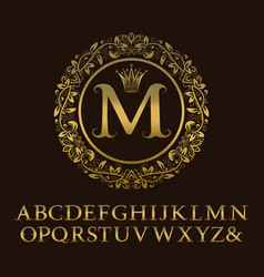 Tendrils gold letters with m initial monogram vector