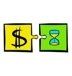 time is money puzzle icon icon cartoon vector image