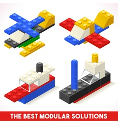 Toy Block Plane Ship Games Isometric vector