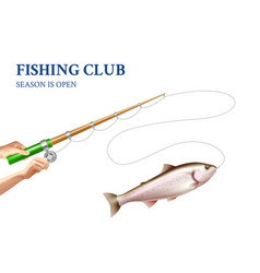 trout fishing realistic vector image