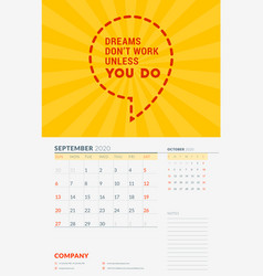 Wall calendar template for september 2020 design vector