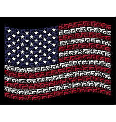 Waving usa flag stylization of pistol gun vector