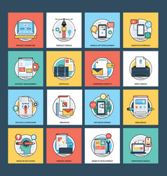 web development flat icons vector image