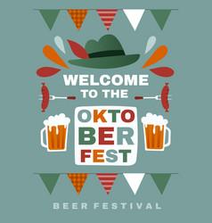 Welcome poster design for oktoberfest vector