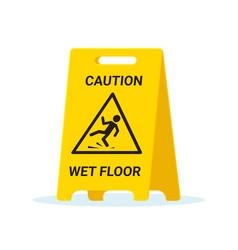 Wet floor stand slip sign slippery clean wet vector