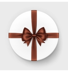 White Gift Box with Brown Chocolate Bow and Ribbon vector