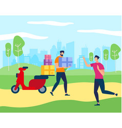worker man bring parcel box to happy young guy vector image