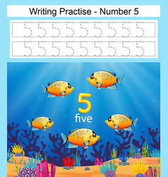 Writing practices number 5 with fish vector