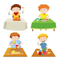 Boys eating at dining table vector image