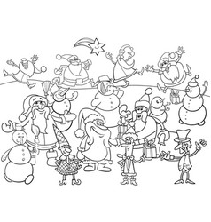 christmas characters group coloring book vector image vector image