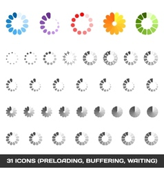 Loading And Buffering Icon Set Preloaders vector image vector image