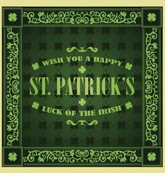 saint patricks day retro background vintage vector image vector image
