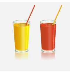 Two glasses with juice Tomato and orange drink vector image