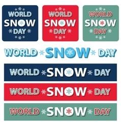 World snow day title setbannerposter vector