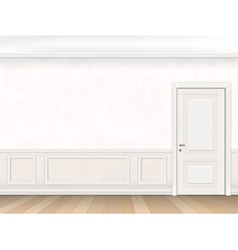 Classic interior in white color with door vector