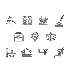 justice and law black line icons set vector image