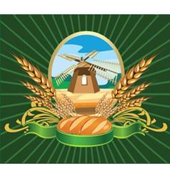 bread wheat label vector image vector image