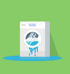broken washing machine from which water flows vector image