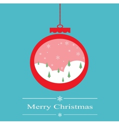 christmas decoration ball with snowing forest vector image