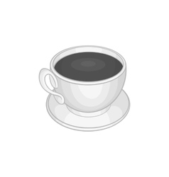 Cup of coffee icon black monochrome style vector image vector image