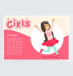 cute happy brunette girl smiling girls banner vector image vector image