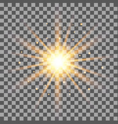 gold rays light effect isolated on transparent bac vector image vector image
