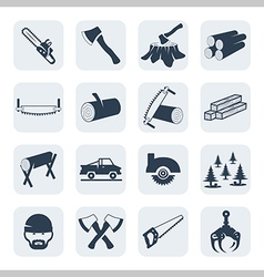 lumberjack and sawmill icons set vector image vector image