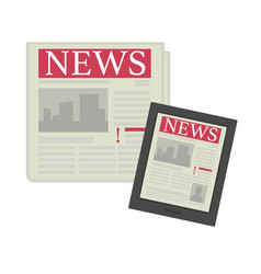 news in newspaper edition and on internet page in vector image
