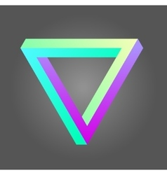 Penrose triangle in neon colors vector