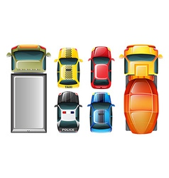 A topview of the parked vehicles vector image vector image