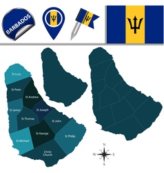 Barbados map with named divisions vector image vector image