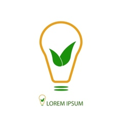 Bulb with green leaves as eco energy sign vector image vector image