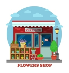 Flower shop or store side view vector image vector image
