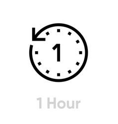 1 hour icon editable outline vector