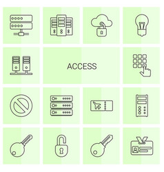14 access icons vector image
