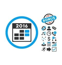 2016 Month Calendar Flat Icon with Bonus vector image