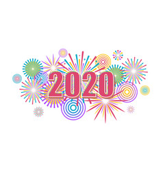 2020 new year banner with fireworks vector image