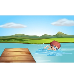 A young gentleman swimming at the beach vector image vector image
