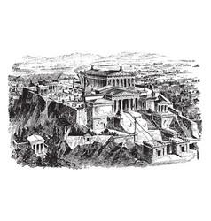 Acropolis athens - restoration the vector
