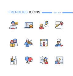 Activities for kids - modern line design style vector