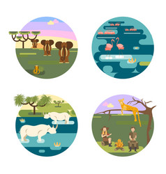 African safari concept set vector
