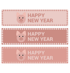 banners with a pig for the new year vector image