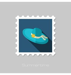 Beach hat flat stamp Summer Vacation vector