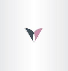 Black purple letter v logo design icon vector