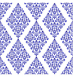 blue and white pattern damask style vector image
