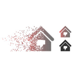 Broken pixel halftone thumb down building icon vector