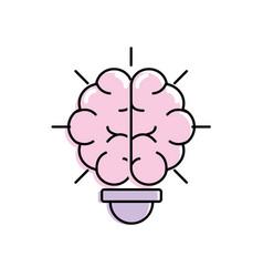 Bulb wih brain inside to creative design vector