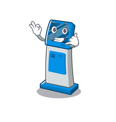 Call me digital information cartoon kiosk next to vector