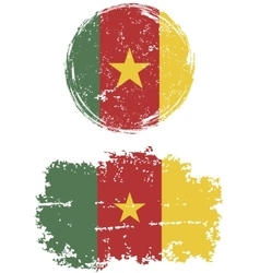 Cameroon round and square grunge flags vector