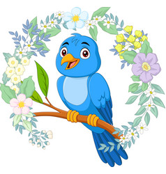 cartoon blue bird on tree branch with flowers back vector image